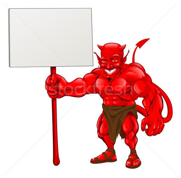 Devil standing holding sign Stock photo © Krisdog