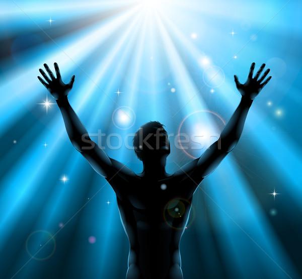 Spiritual man with arms raised up concept Stock photo © Krisdog