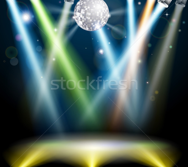 Boule disco piste de danse illustration disco miroir balle Photo stock © Krisdog