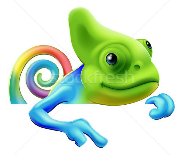 Tęczy Chameleon wskazując w dół ilustracja cute Zdjęcia stock © Krisdog