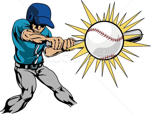 Illustration of baseball player hitting baseball Stock photo © Krisdog