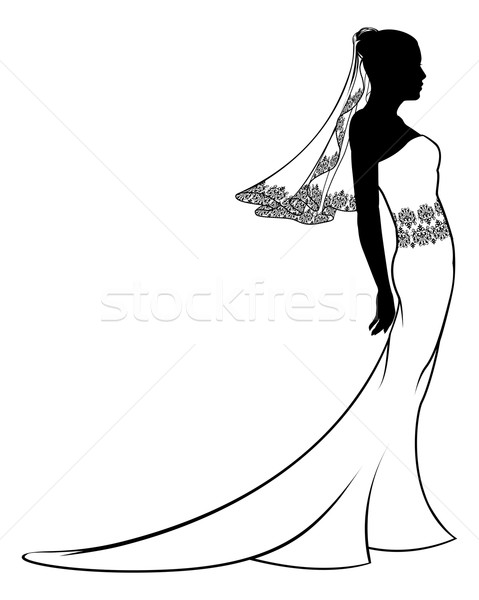 Bride wedding dress silhouette Stock photo © Krisdog