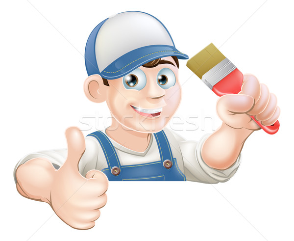 Paint brush man over sign thumbs up Stock photo © Krisdog