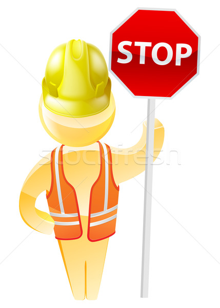 Stop sign construction man Stock photo © Krisdog
