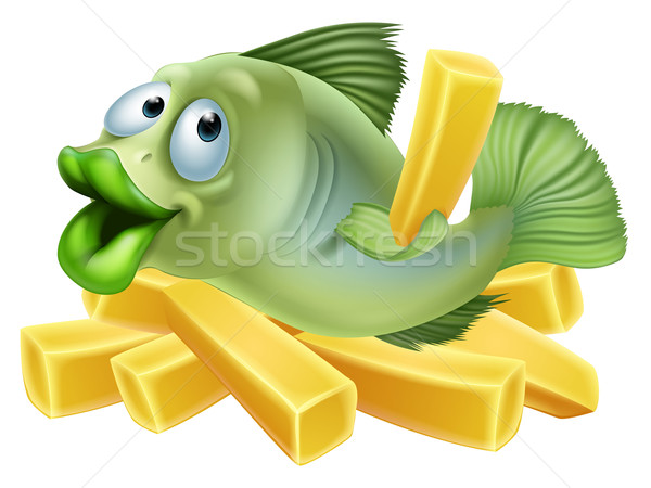 Cartoon fish and chips Stock photo © Krisdog