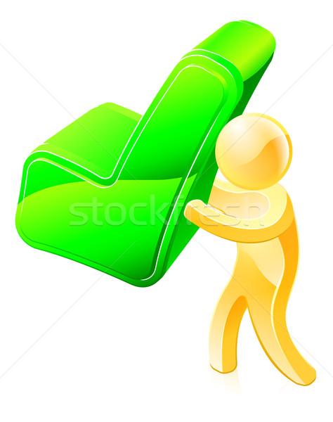 Person holding green tick Stock photo © Krisdog