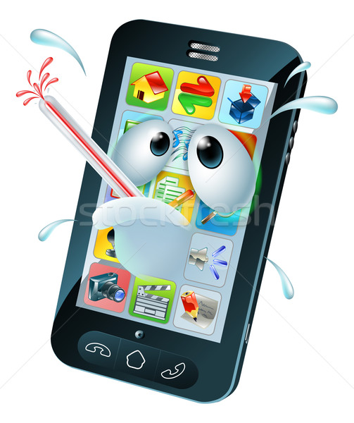 Virus mobile cell phone cartoon Stock photo © Krisdog