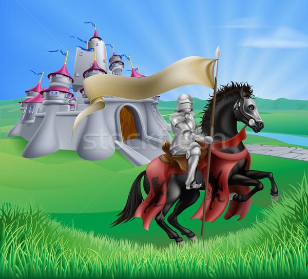 Castle and knight landscape Stock photo © Krisdog