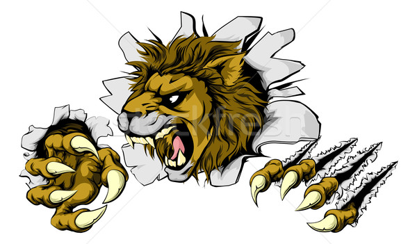 Stock photo: Lion smashing out