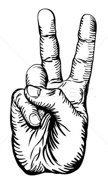 victory salute or peace sign Stock photo © Krisdog