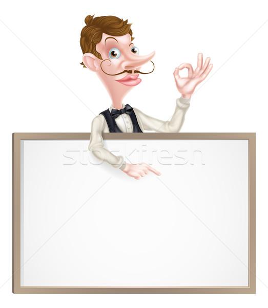 Pincér tökéletes felirat mutat illusztráció rajz Stock fotó © Krisdog