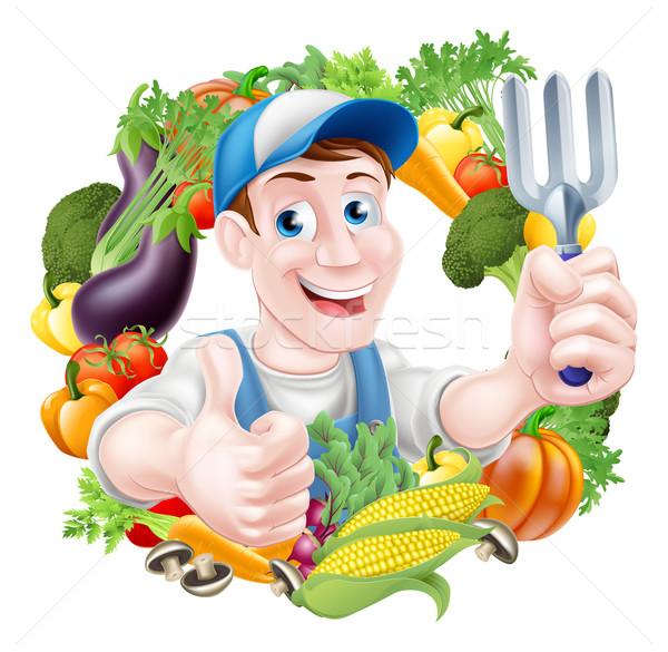 Cartoon Vegetable Gardener Stock photo © Krisdog