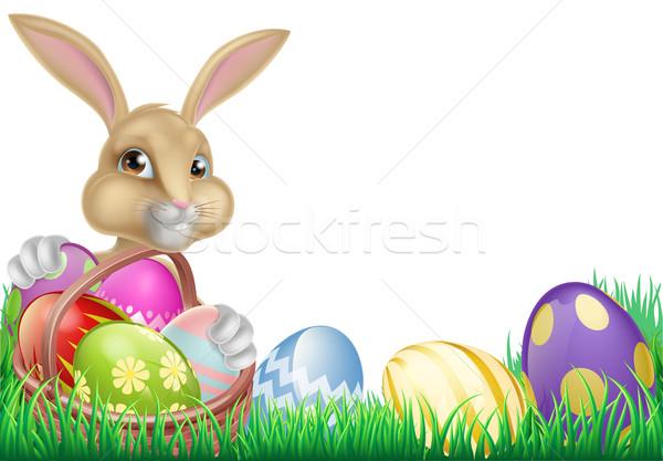 Cartoon Conejo de Pascua huevos cesta completo chocolate Foto stock © Krisdog