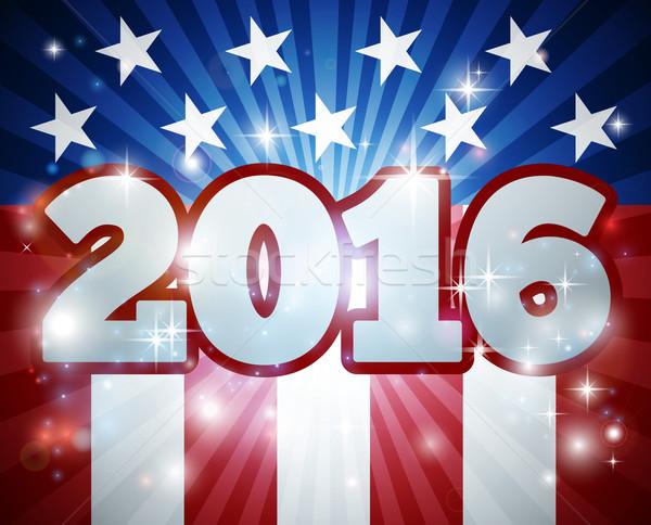 2016 wyborów amerykańską flagę banderą projektu rok Zdjęcia stock © Krisdog