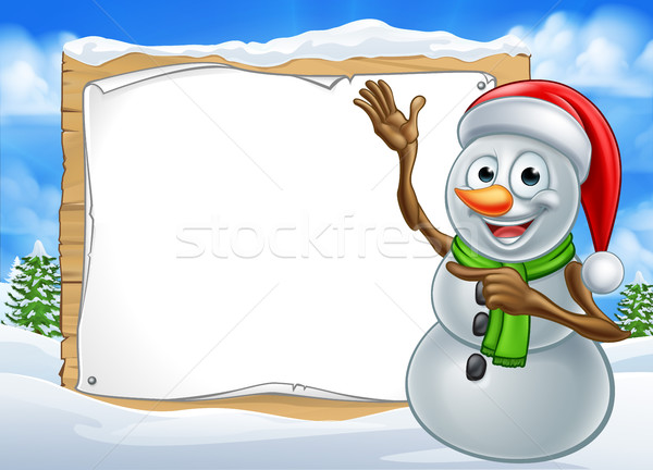 Santa Hat Snowman Cartoon Christmas Sign Stock photo © Krisdog