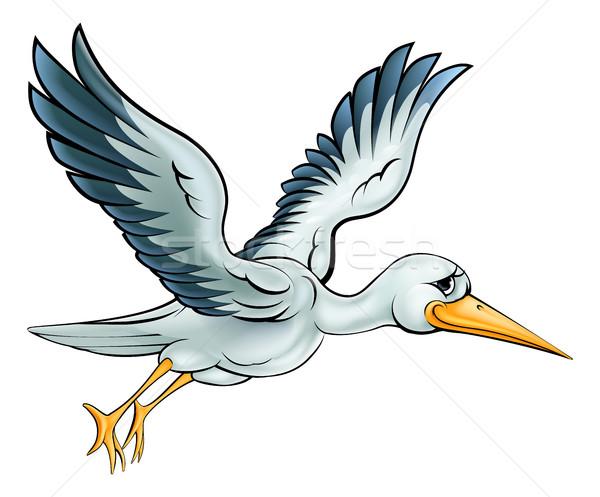 Leylek karikatür kuş hayvan karakter uçan Stok fotoğraf © Krisdog