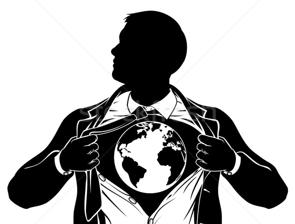 World Globe Business Superhero Tearing Shirt Chest Stock photo © Krisdog