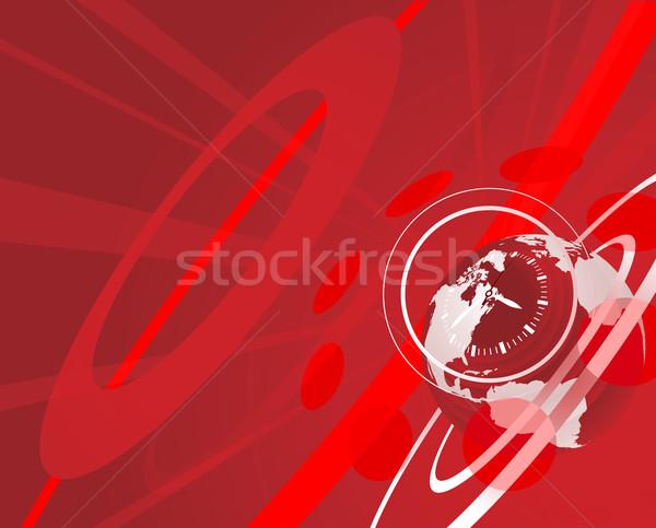 ストックフォト: 世界中 · クロック · 赤 · 実例 · ビジネス · インターネット