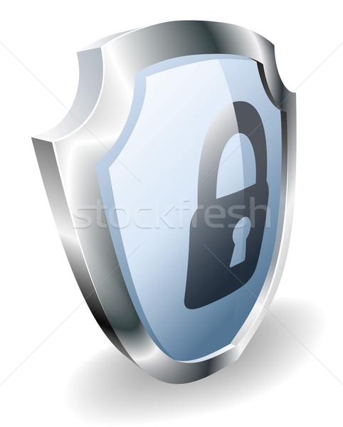 замок щит безопасности блокировка икона компьютер Сток-фото © Krisdog