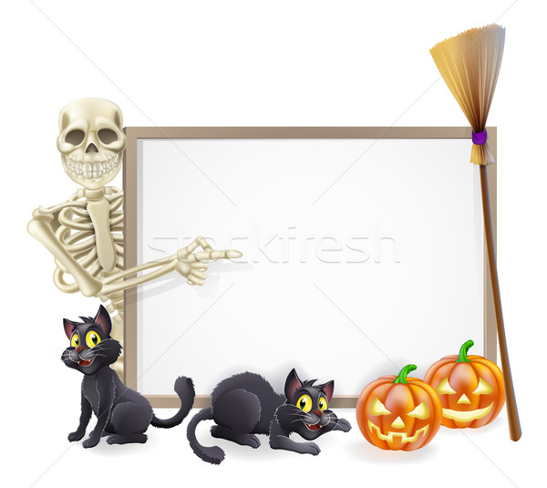 Skeleton Halloween Sign Stock photo © Krisdog