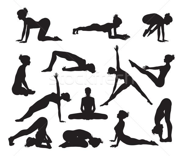Silhouette Yoga poses Stock photo © Krisdog