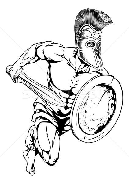 épée bouclier mascotte illustration gladiator guerrier Photo stock © Krisdog