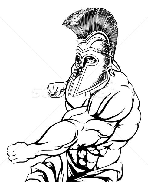Gladiator mascotte spartan personnage sport Photo stock © Krisdog