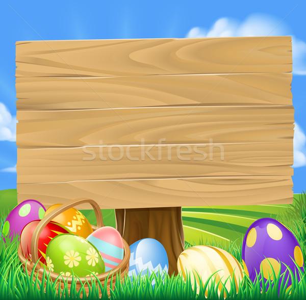Easter egg hunt karikatür imzalamak sepet paskalya yumurtası yeşil Stok fotoğraf © Krisdog