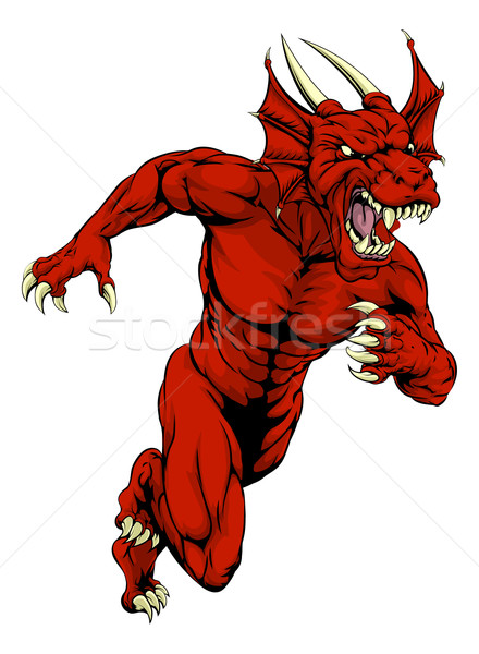 Red dragon mascot running Stock photo © Krisdog