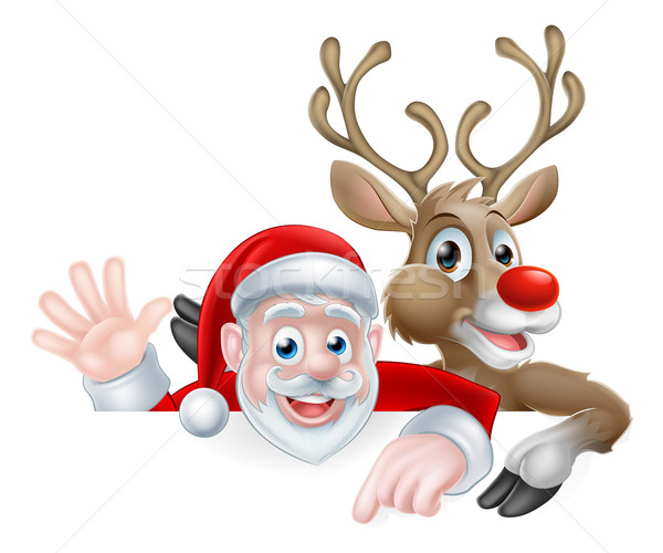Santa and Reindeer Christmas Illustration Stock photo © Krisdog