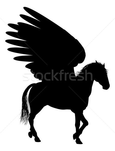 Pegasus Silhouette Horse Stock photo © Krisdog