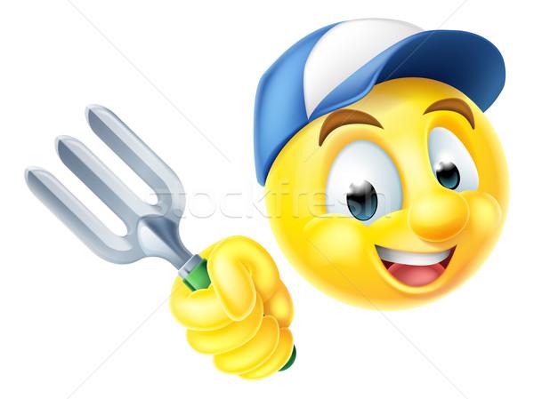 Tuinman emoticon cartoon icon tuin Stockfoto © Krisdog
