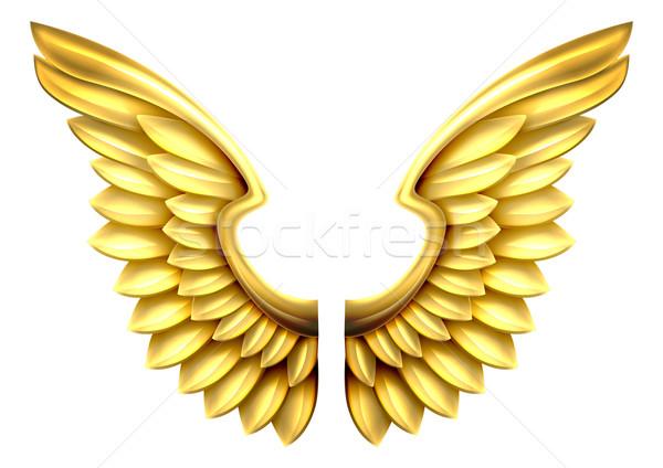 ストックフォト: 金属 · 金 · 翼 · ペア