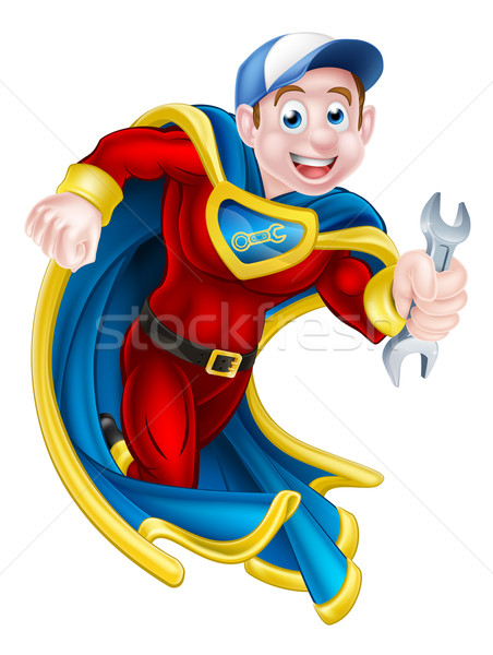 Plumber Mechanic Spanner Hero Stock photo © Krisdog