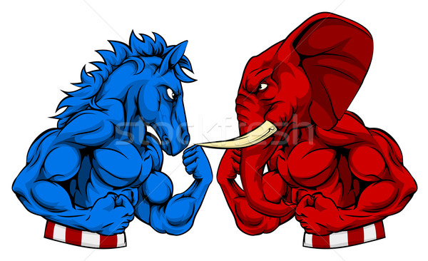 Donkey vs Elephant Politics American Election Concept Stock photo © Krisdog