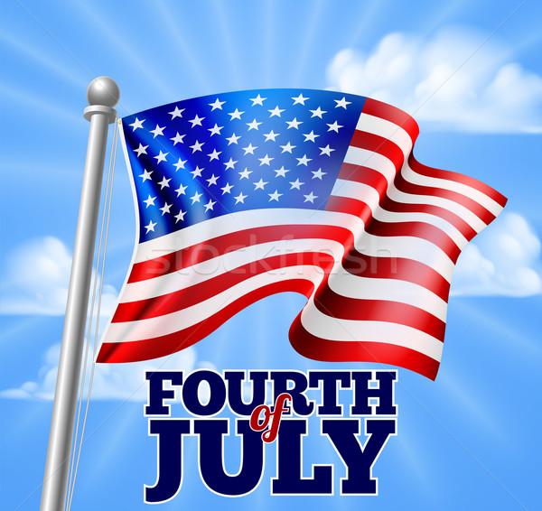 Negyedik nap zászló terv amerikai égbolt Stock fotó © Krisdog