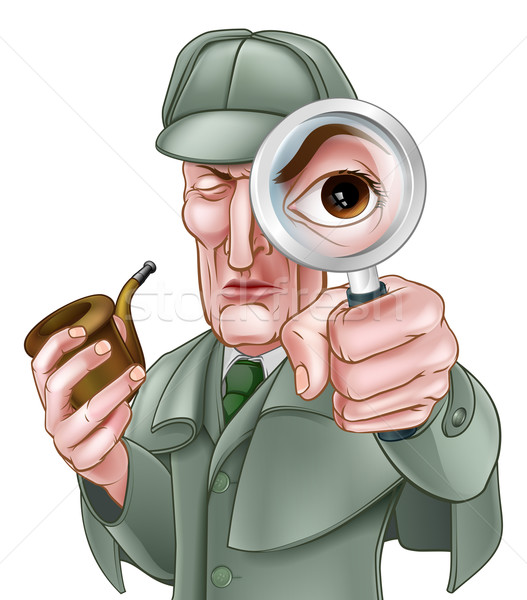 Sherlock Holmes Detective Cartoon Stock photo © Krisdog