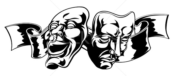 Színház maszkok illusztráció vígjáték tragédia egy Stock fotó © Krisdog