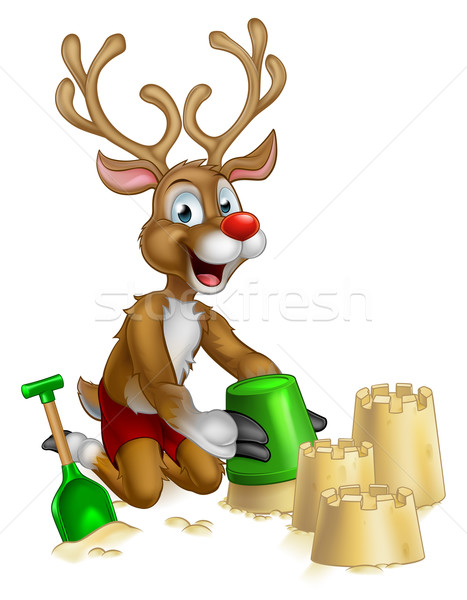 Christmas Reindeer on Summer Beach Stock photo © Krisdog