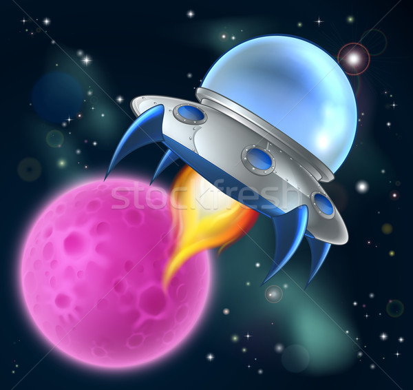Cartoon чужеродные пространстве судно Flying блюдце Сток-фото © Krisdog