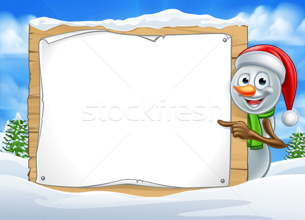 Stock photo: Cartoon Snowman Santa Hat Sign Scene