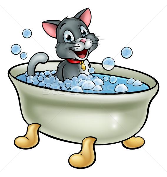 Cartoon chat lavage bain bulles eau Photo stock © Krisdog