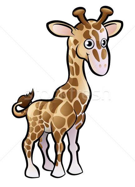 Zsiráf szafari állatok rajzfilmfigura baba könyv gyermek Stock fotó © Krisdog