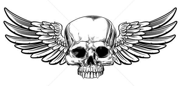 Winged Skull Vintage Etched Woodcut Style Stock photo © Krisdog