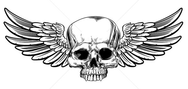 頭蓋骨 ヴィンテージ スタイル 刻ま 図面 顔 ストックフォト © Krisdog