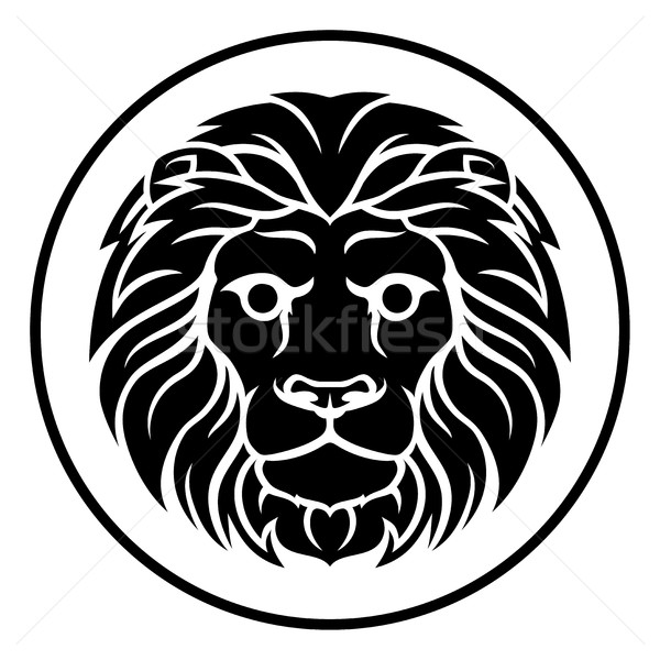Lion zodiac horoscope astrologie signe cercle Photo stock © Krisdog