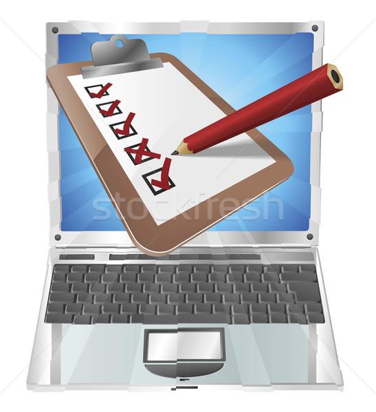 Online Umfrage Laptop Zwischenablage Illustration Bleistift Stock foto © Krisdog