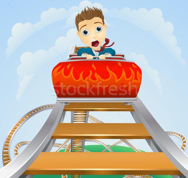üzlet hullámvasút illusztráció üzletember néz ijedt Stock fotó © Krisdog