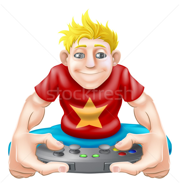 Stock photo: Gamer playing games console too much