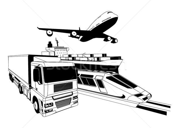 Fret logistique transport illustration avion camion Photo stock © Krisdog
